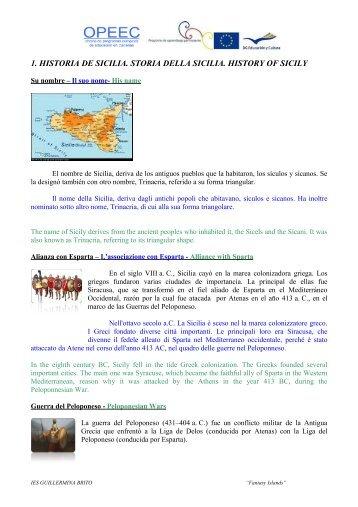 1 HISTORIA DE SICILIA STORIA DELLA SICILIA HISTORY OF SICILY