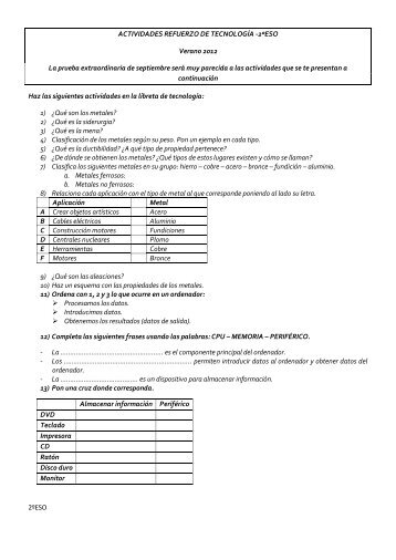 2ºESO Verano 2012 La prueba extraordinaria de septiembre será ...