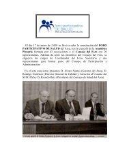 Constitución Foro Partipativo de Salud - Area de Salud de Puertollano