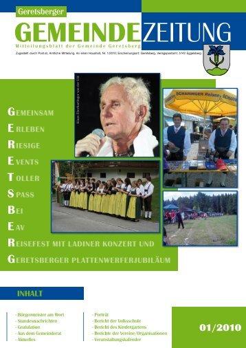 Gemeindezeitung 1/2010 (4,24 MB) - Gemeinde Geretsberg