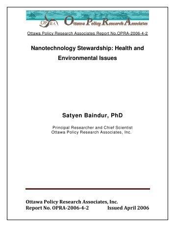 Nanotechnology Stewardship Health and Environmental Issues Satyen Baindur PhD