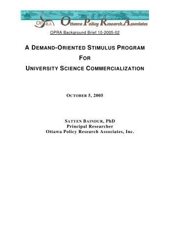 DEMAND-ORIENTED STIMULUS PROGRAM FOR UNIVERSITY SCIENCE COMMERCIALIZATION