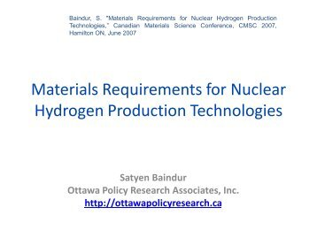 Materials Requirements for Nuclear Hydrogen Production Technologies