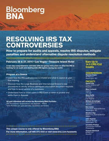 RESOLVING IRS TAX CONTROVERSIES