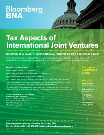 Tax Aspects of International Joint Ventures