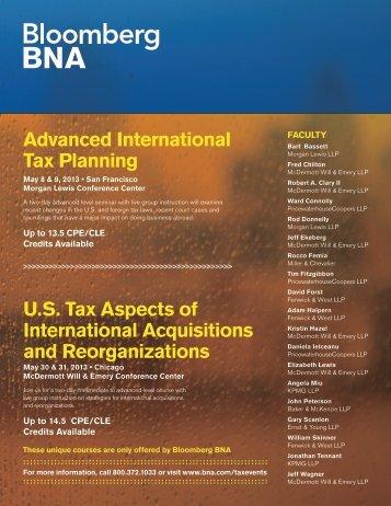 Advanced International Tax Planning U.S. Tax ... - Bloomberg BNA