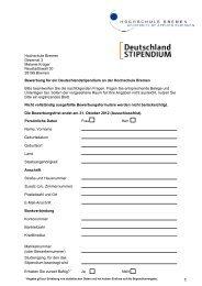 Antragsformular - Hochschule Bremen