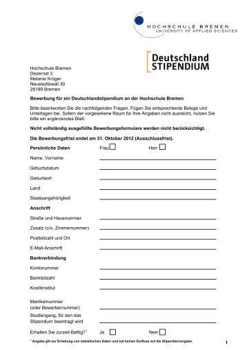 antragsformular hochschule bremen - Hochschule Bremen Bewerbung