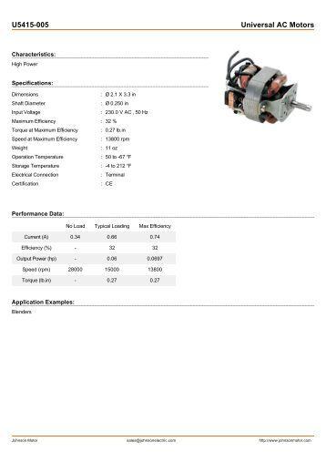 U5415-005 Universal AC Motors - Johnson Electric