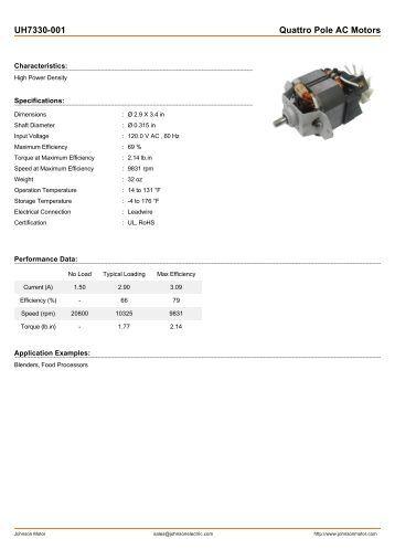 UH7330-001 Quattro Pole AC Motors - Johnson Electric