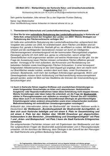 Karlsruher Umweltverbände fragen zur Kommunalwahl 2009