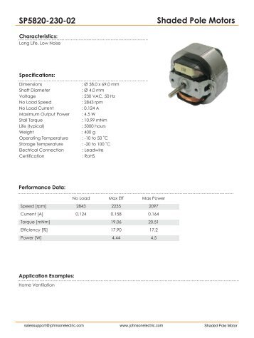Shaded Pole Motors SP5820-230-02 - Johnson Electric
