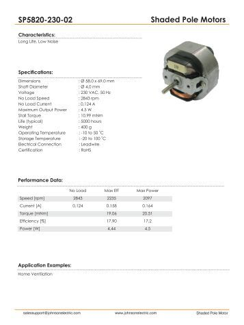 Shaded Pole Motors SP5820-230-02 - Johnson Electric