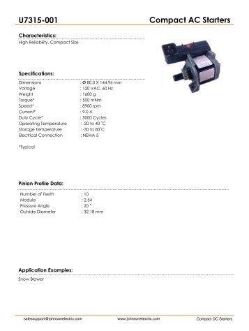 Compact AC Starters U7315-001 - Johnson Electric