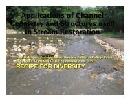 Applications of Channel Geometry and Structures used in Stream Restoration