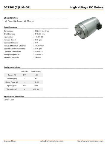 DC1561(2)LLG-001 High Voltage DC Motors - Johnson Electric
