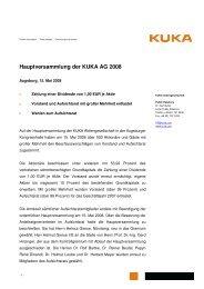 Hauptversammlung der KUKA AG 2008 - KUKA Aktiengesellschaft