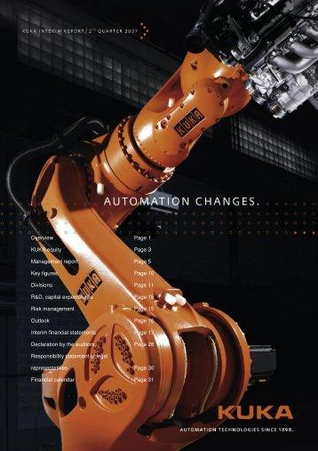 Overview Page 1 KUKA equity Page 3 Management ... - Kuka AG