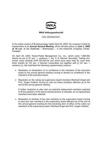 Update on 2005 General Meeting (PDF) - KUKA Aktiengesellschaft
