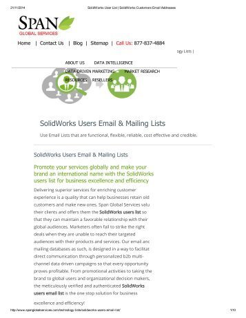 Purchase Customized SolidWorks End User Lists from Span Global Services