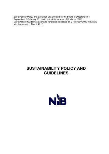 SUSTAINABILITY POLICY AND GUIDELINES