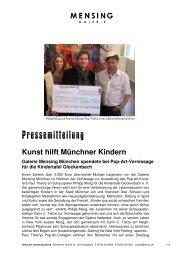 Kunst hilft Münchner Kindern Galerie Mensing München spendete ...