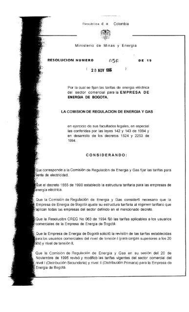 Repliblica De Colombia Ministerio De Minas Y Energia Por La