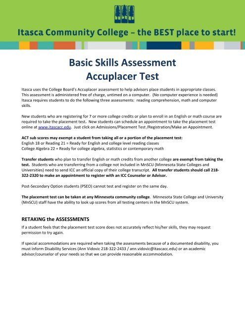 Basic Skills Assessment Accuplacer Test