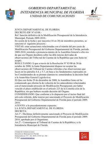 gobierno departamental intendencia municipal de florida unidad de ...