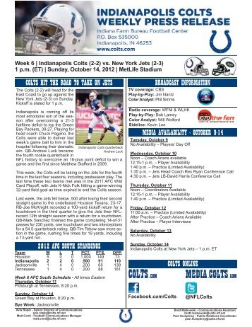 october 9-14 colts online 2012 afc south standings - Nfl