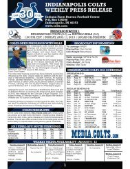 INDIANAPOLIS COLTS WEEKLY PRESS RELEASE