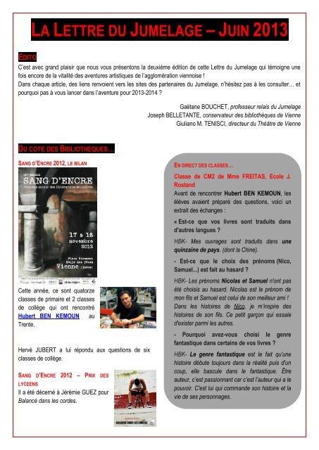 LA LETTRE JUMELAGE – JUIN 2013