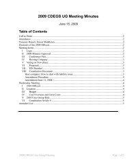 2009 CDEGS UG Meeting Minutes