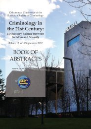 BOOK OF ABSTRACTS - European Society of Criminology