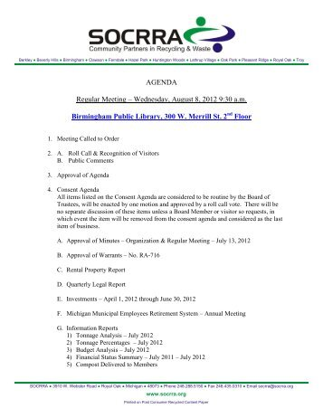 AGENDA Regular Meeting – Wednesday, August 8, 2012 9 ... - socrra