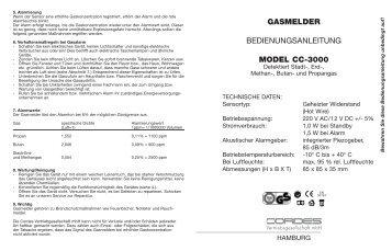 GASMELDER BEDIENUNGSANLEITUNG MODEL CC-3000