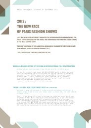 2012  THE NEW FACE OF PARIS FASHION SHOWS