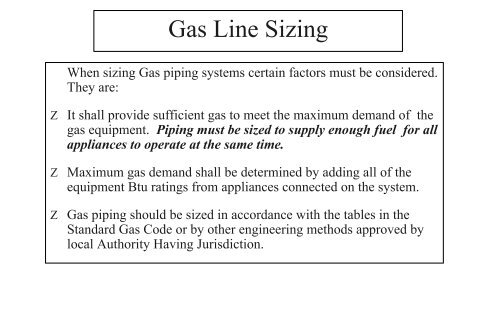 Gas Piping Sizing Table 2 Psi System Gpta Net