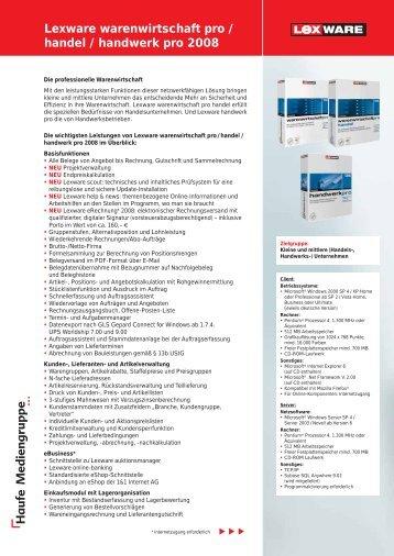 Lexware warenwirtschaft pro / handel / handwerk ... - Netzwerkstudio