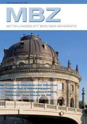 MBZ Ausgabe 09/2009 - Zahnärztekammer Berlin