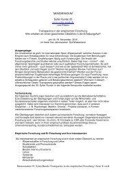 Transparenz in der empirischen Forschung - Sylter Runde