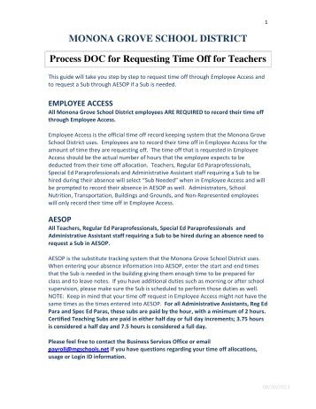 MONONA GROVE SCHOOL DISTRICT Process DOC for Requesting Time Off for Teachers