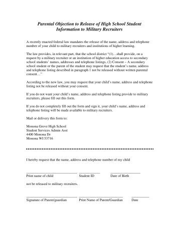 Military Opt-out Form - Monona Grove Schools
