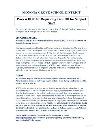 Process DOC for Requesting Time Off for Support Staff