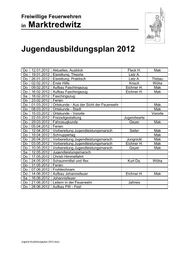 Marktredwitz Jugendausbildungsplan 2012
