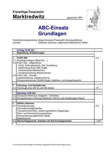 Marktredwitz ABC-Einsatz Grundlagen