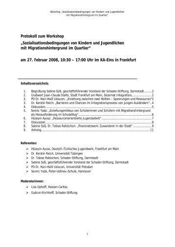 Protokoll zum Workshop ... - Schader-Stiftung