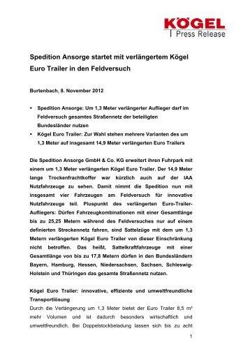 Spedition Ansorge startet mit verlängertem Kögel Euro Trailer in den ...