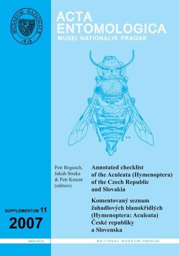 Hymenoptera: Aculeata - Acta Entomologica Musei Nationalis Pragae