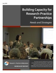 Building Capacity for Research-‐Practice Partnerships